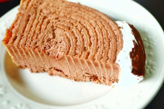 解凍したチョコクレープロール