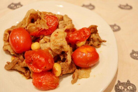 豚肉とグレープトマトのオイスター炒め