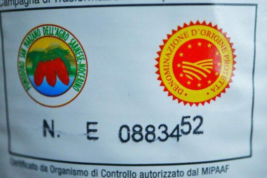 サンマルツァーノトマト缶についているDOPマーク