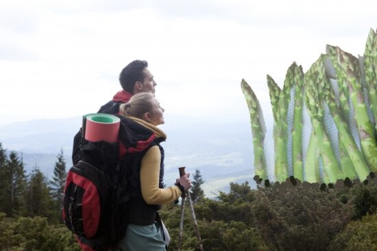 立ってアスパラガスを眺めるカップル
