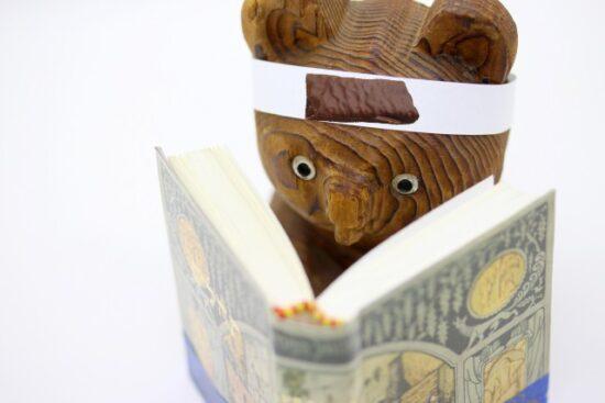 ロックマリアクレープと読書するクマ